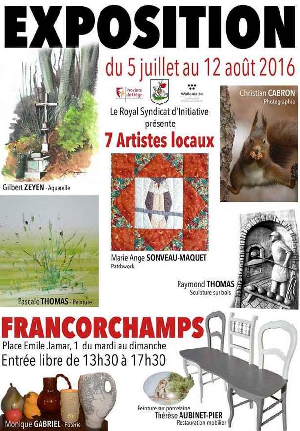Expositionde 7 artistes locaux à Francorchamps