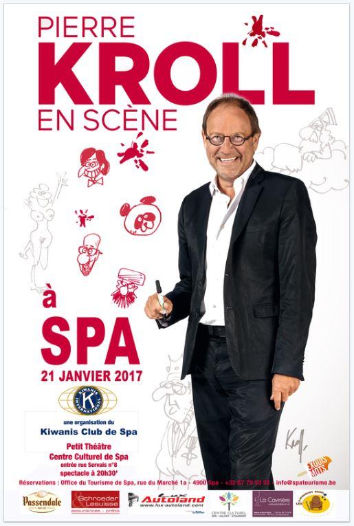 """Pierre Kroll en scène"": le 21 janvier 2017 à Spa"